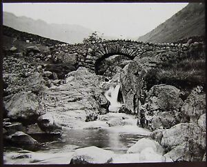 Glass-Magic-Lantern-Slide-STOCKLEY-BRIDGE-SEATHWAITE-C1890-PHOTO-CUMBRIA