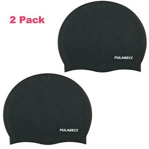 2-Pack-Silicone-Swim-Caps-Short-Hair-For-Adult-Men-Women-One-Size-Stretch-Fit