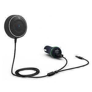 Bluetooth 4.0 Kit Mains Libres Voiture Récepteur+Chargeur USB Pr iPhone Samsung