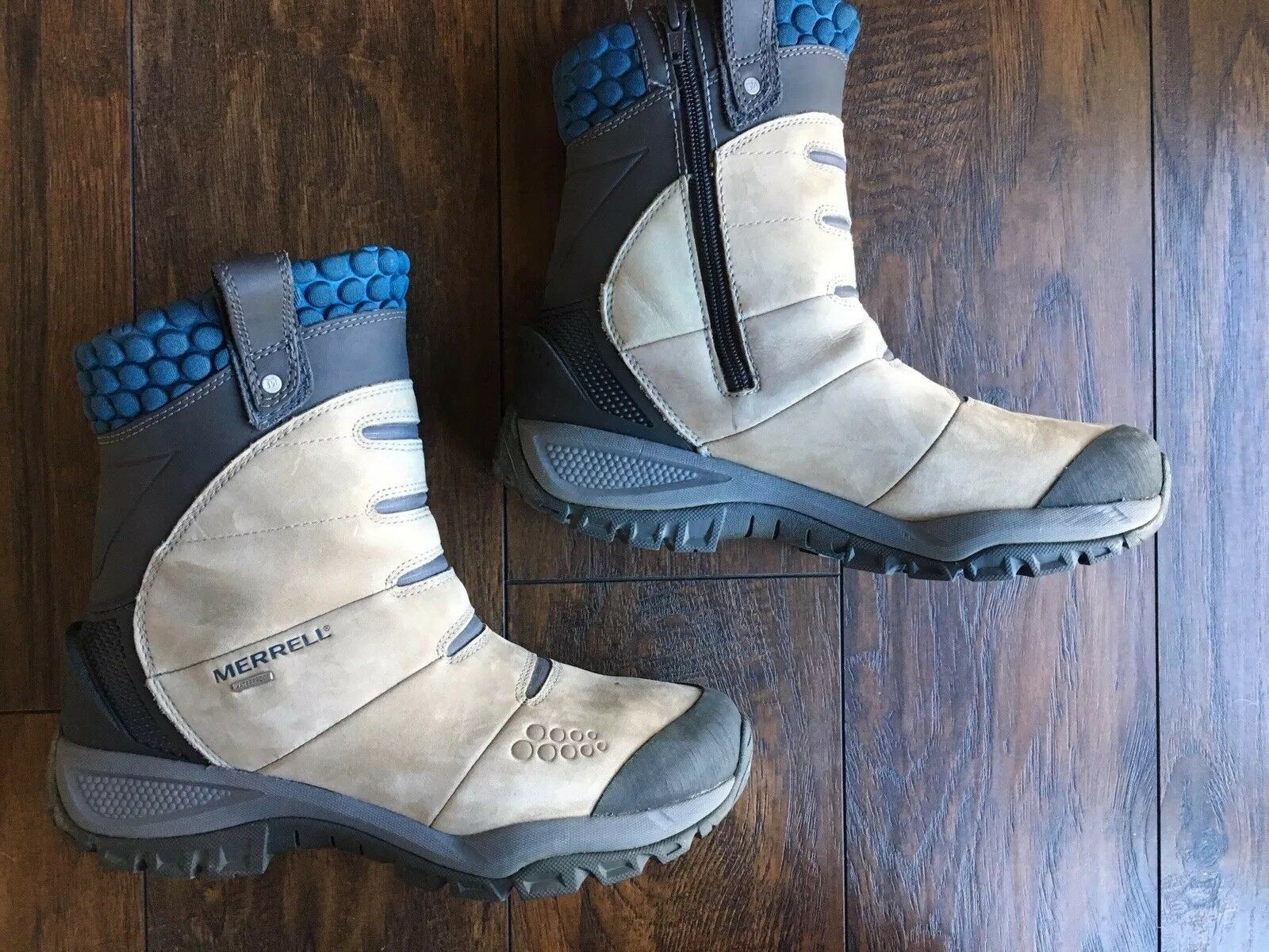 Merrell donna stivali 9   9.5 Artic Fox Smoke Pull On  Zipper Tan blu Snow scarpe