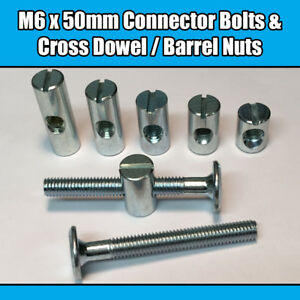 M6 X 50 Mm Meubles Connecteur Boulons & Cross Dowel Barrel écrous Joint Fixation Unité-afficher Le Titre D'origine Ouwgvyhl-10111659-804859193