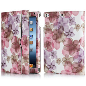 For iPad 9.7 inch 6th Air 2018 Wallet Folio Case Stand Smart Cover Floral Purple