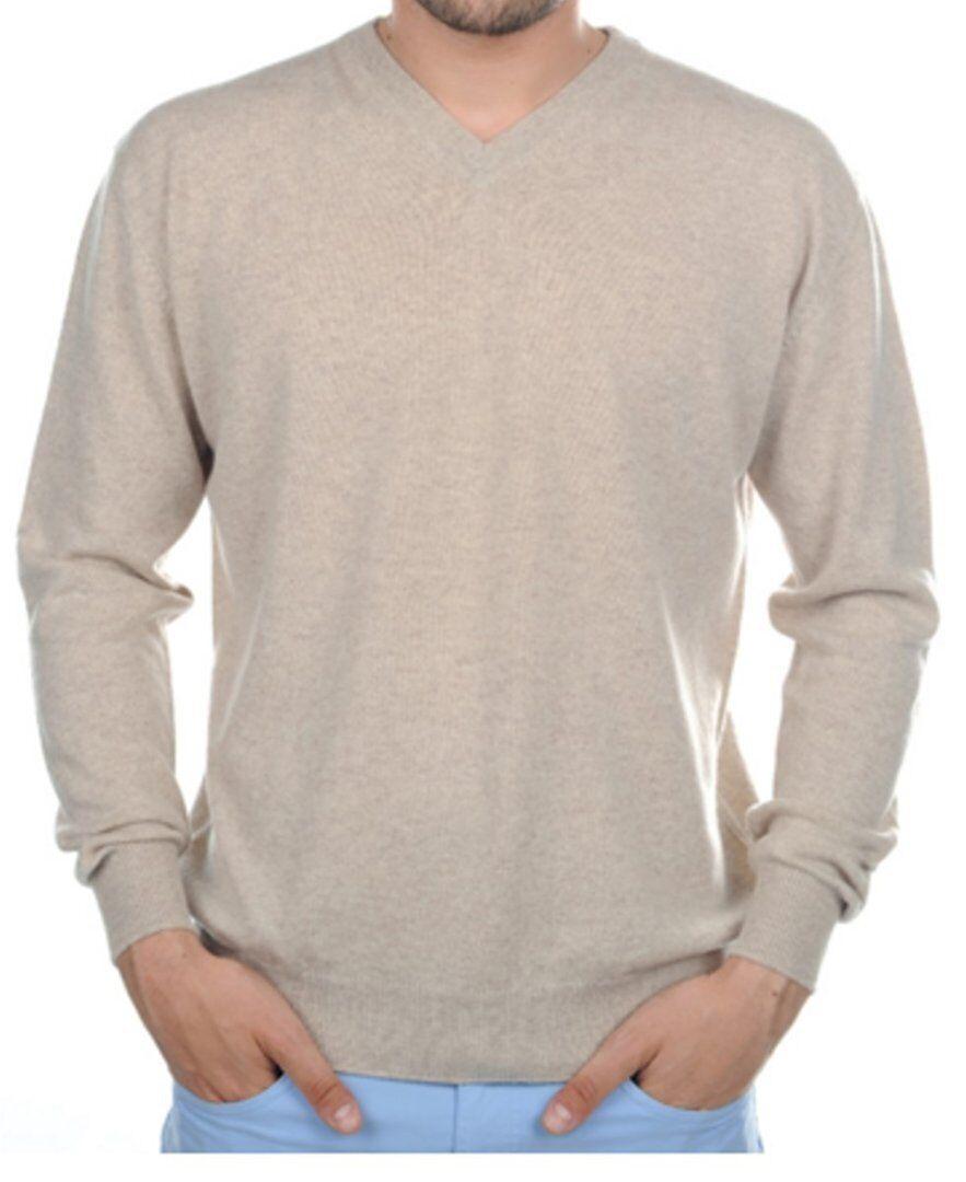 Balldiri 100% Cashmere Herren Pullover V Ausschnitt braun meliert S