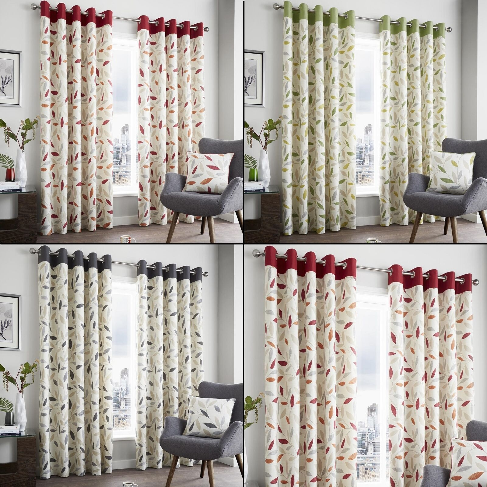 Fusion - BEECHWOOD - 100% Cotton Modern Leaf Trail Eyelet Ring Top Curtains