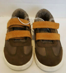 Cat-amp-Jack-Little-Boys-Brown-Leather-and-Textile-Upper-Sneakers-Size-8