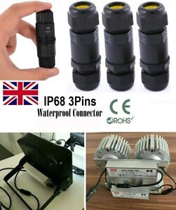 3Pin-Waterproof-Junction-Box-Connector-Electric-Cable-Inline-Wire-Slim-Plug-IP68