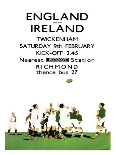 Old Transport Poster reproduction England V Ireland Rugby