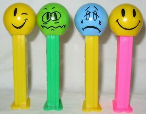 4-Different-PEZ-DISPENSERS-FUNKY-FACES-EMOJI-Style
