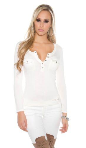 Dünnes Damen Basic Langarm T-Shirt V-Auschnitt Bluse tailliert 36 38 weiß