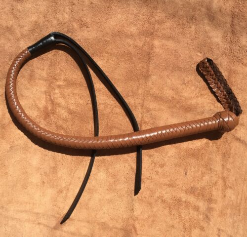 3.4 Pieds de Long Marron Vachette Leather Bull Whip avec Cuir Noir Tail Flogger