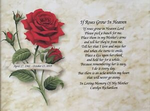 Details about Memory of Mother Gift Loss of Mom Personalized Sympathy Poem  Memorial Gift Print