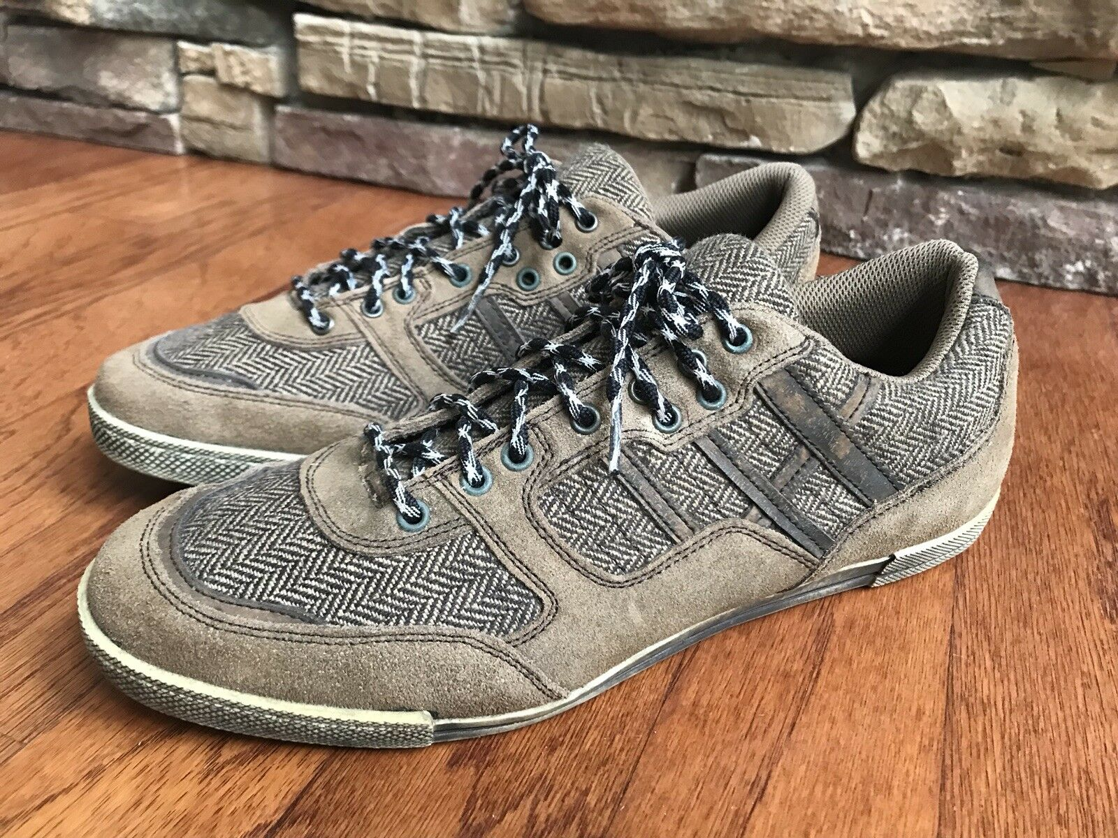 Bull Boxer Men's Leather Suede Herringbone Vintage Rare Size 12 Sneakers Shoes