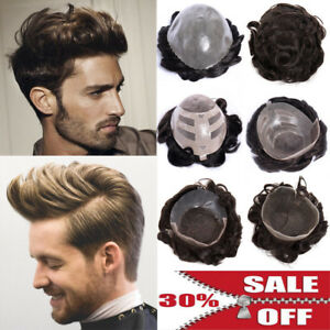 US Undetectable Hairline Toupee Mens Real Human Hair Piece ...