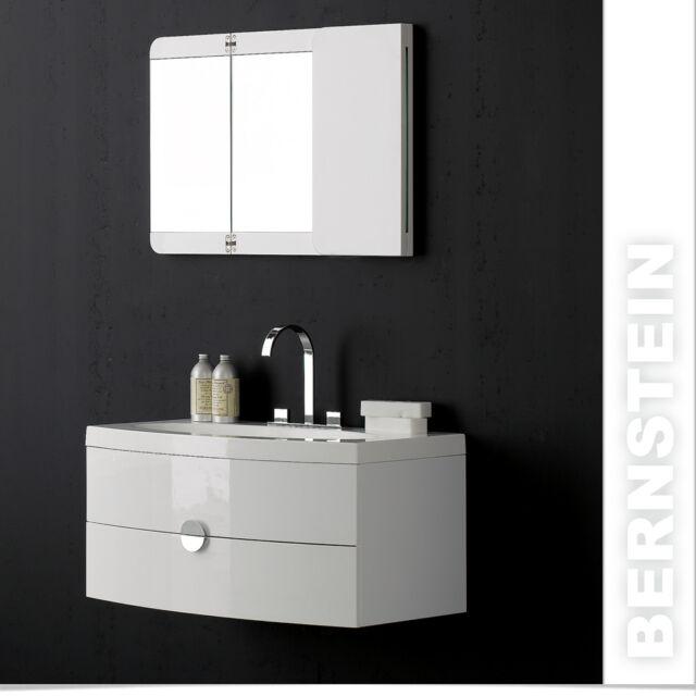 Badmöbel Set Badezimmer weiß Waschbecken Unterschrank Spiegel