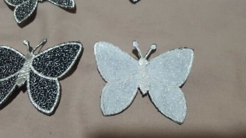 1 Butterfly Motif Black With Silver Iron Sew  Applique BUY 2 GET 1 FREE