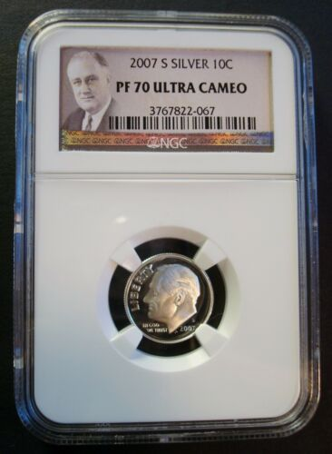 """2007-S /""""PERFECT/"""" SILVER PROOF-70 ULTRA CAMEO NGC /""""PORTRAIT LABEL/"""" ROOSEVELT DIME"""