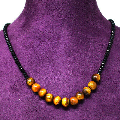 Fine Necklaces & Pendants Clever 70.00 Cts Natural Faceted Black Spinel & Tiger Eye Round Beads Necklace Nk 22e60 Aromatic Character And Agreeable Taste