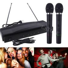 NEW PRO WIRELESS DUAL MICROPHONE SYSTEM AUDIO HANDHELD 2 x MIC CORDLESS RECEIVER