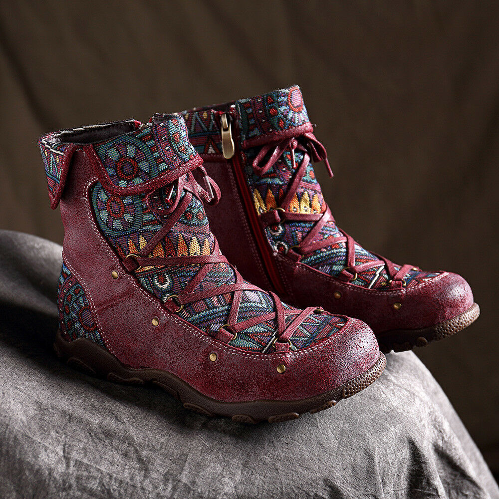 SOCOFY Women Genuine Leather Boots Splicing Jacquard shoes Embroidery Casual  !