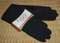 Iso Isotoner Winter Gloves Stretch One Size Dark Brown Leather Trim $45 Gift