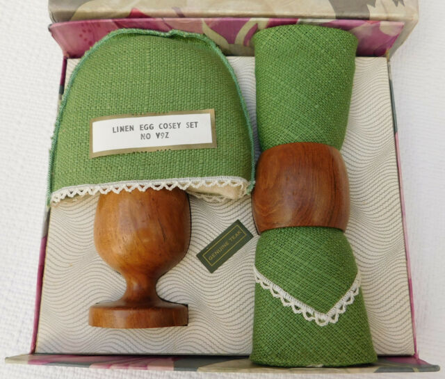 Vintage teak egg cup cosy napkin ring 1950s wood Irish linen breakfast set BOXED