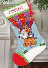 Needlepoint Kit ~ Dimensions Santa's Balloon Ride Christmas Stocking #71-09156