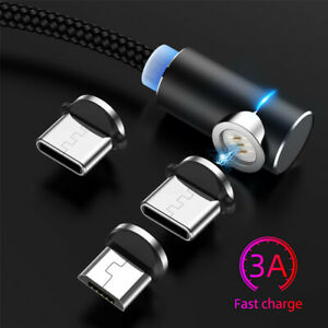 3A-Magnetic-90-Elbow-Micro-USB-Type-C-Fast-Charging-Cable-For-Samsung-Huawei-LG