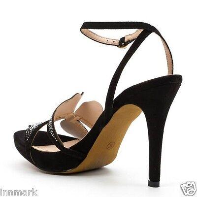914 belleza Girl's Fiesta Adornado Con Tiras Zapatos de la Sandalia Negro Strass 37 - 41