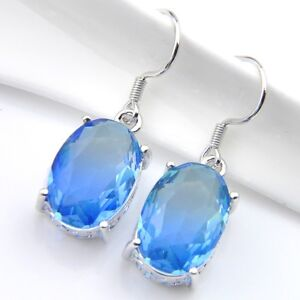 New-Arrival-Oval-Blue-Bi-Colored-Tourmaline-Gems-White-Gold-Plated-Hook-Earrings