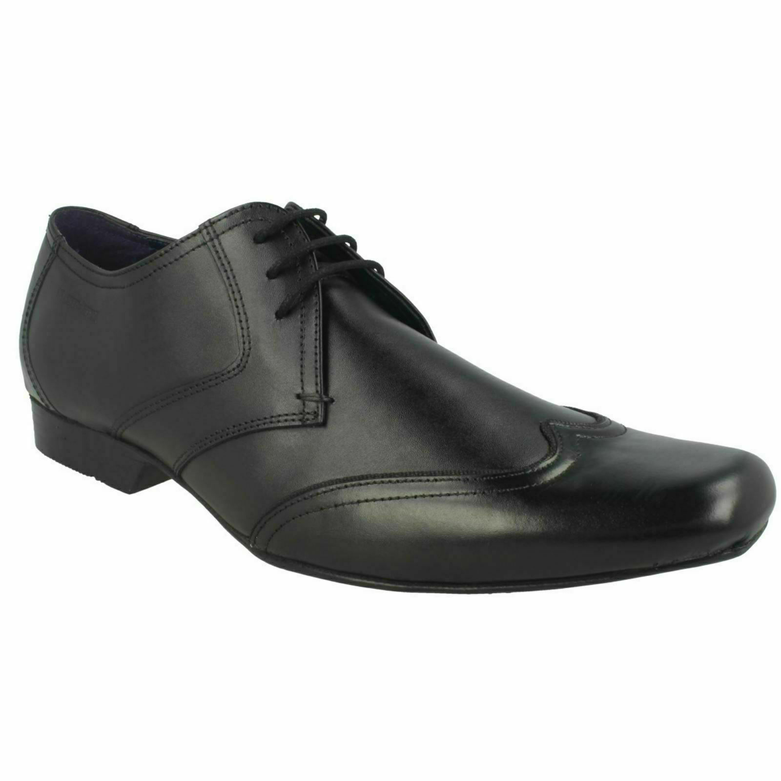 MENS LAMBRETTA 209621 LACE UP UP BLACK LEATHER FORMAL SMART WEDDING OFFICE SHOES