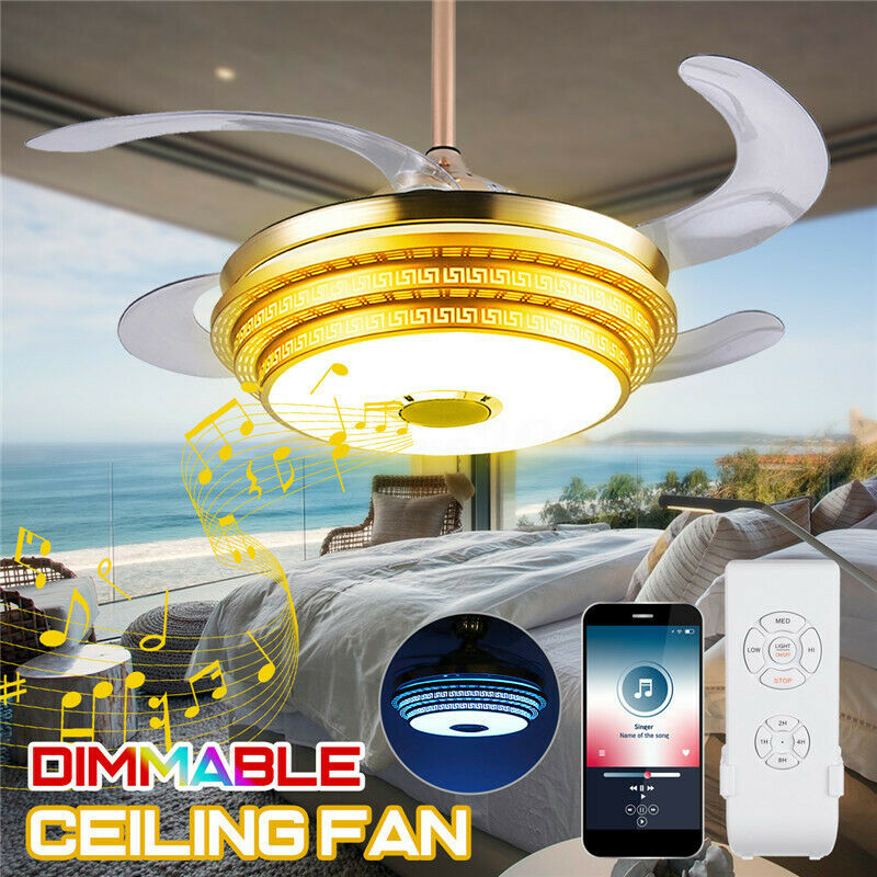 Modern Dimmable Ceiling Fan Lamp Blautooth Speaker LED Chandelier Light+Remote
