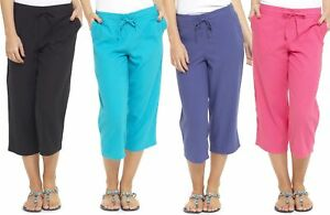 b4a886899b0fd Details about Tom Franks Linen Blend Cropped 3 4 Length Trousers with  Ribbed Waist