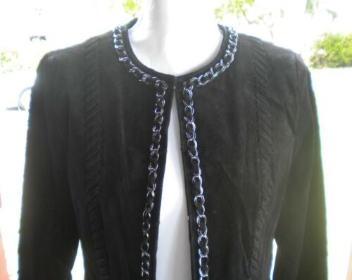 Detail Hal 299 Ladies Rubenstein Black Chain Suede Whipstitched Jacket 00 M XnrXSZWqwx