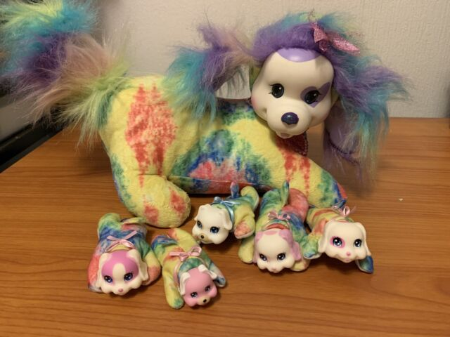 2015 Puppy Surprise Plush Dog GiGi & 5 Puppies Just Play Tie Dye Sparkle Hair