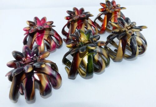 4x OCTOPUS HAARKREBS mittelgroß 5,6cm Haarspange Haarklammer kräftige Farben
