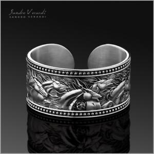 Band Ring Unisex Designer Rings 'Mustangs' by SANDRO VERARDI Silver //R009