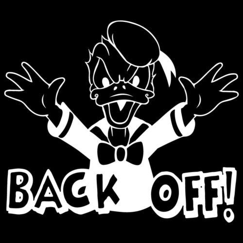 """6.9/"""" BACK OFF Donald Duck Autocollant Vinyle Autocollant Voiture Fenêtre Ordinateur Portable Disney Angry"""