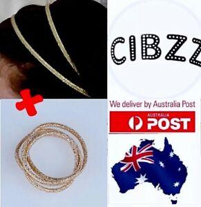Hairband-Double-Row-Head-Band-GOLD-Glitter-Yoga-BONUS-Elastic-Hair-Ties-SET