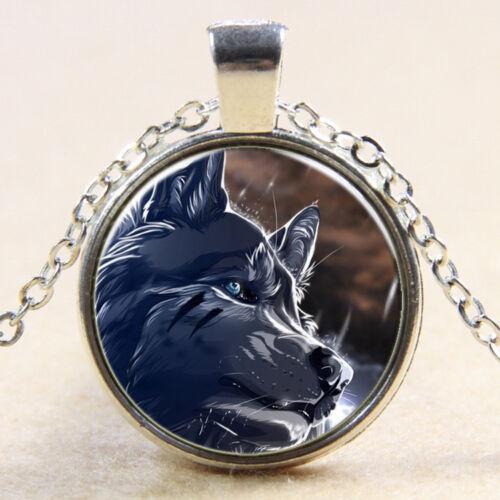 Newest vintage Stab Wolf Cabochon Tibetan Silver Verre Chaîne Collier Pendentif
