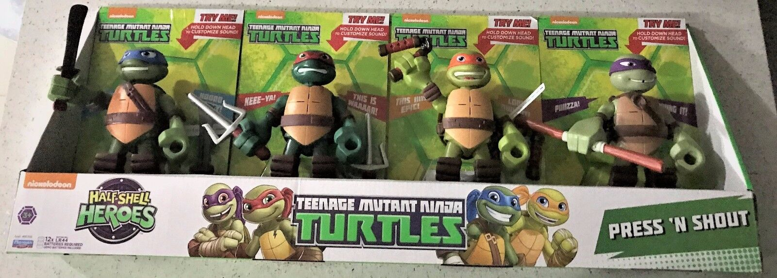 Teenage Mutant Ninja Turtles Press N Shout Ages 3+ New Toy Half Shell Heroes Fun