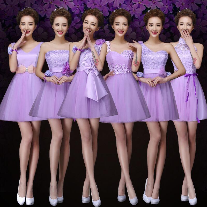 Purple Evening Prom Party Club Dress Bridesmaid Short Dress Bowknot Lace Up C409