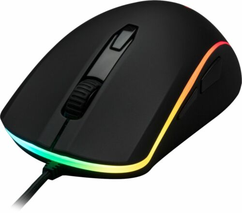 Black HyperX Pulsefire Surge Wired Optical Gaming Mouse with RGB Lighting
