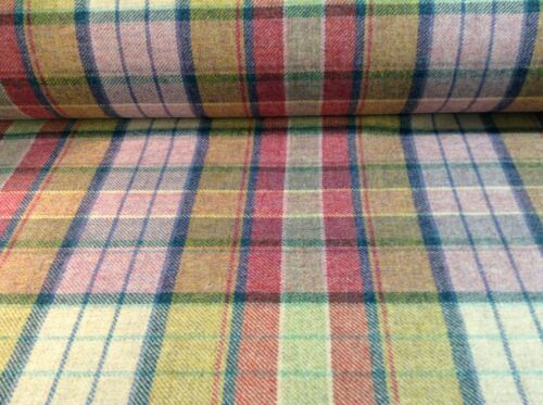 """Lewis Candy Pink Pure Wool Plaid 140cm//54/"""" Curtain Upholstery Craft Fabric"""