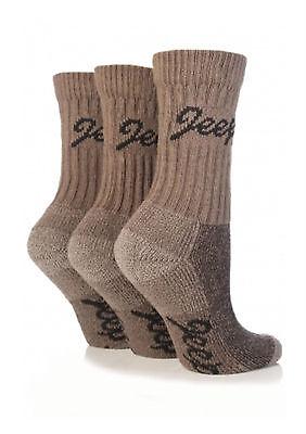 3 pairs Ladies Jeep Terrain Cushion sole Cotton Hiking Socks 4-7 uk Taupe