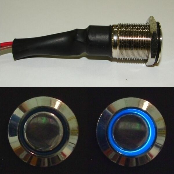 Stainless Flush Mount Blue LED Lighted On / Off Push Button Switch for Boats