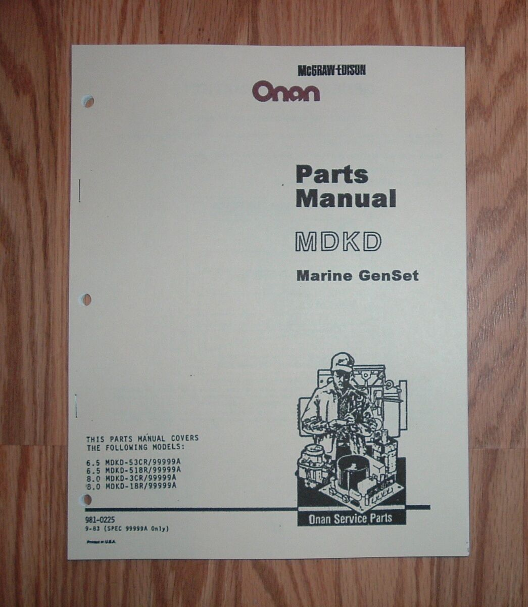 Onan Mdkd Parts Manual 6 5 Rv Generator Control Wiring Diagram Spec 99999a Marine Genset Illustrated List Rh Ebay Com