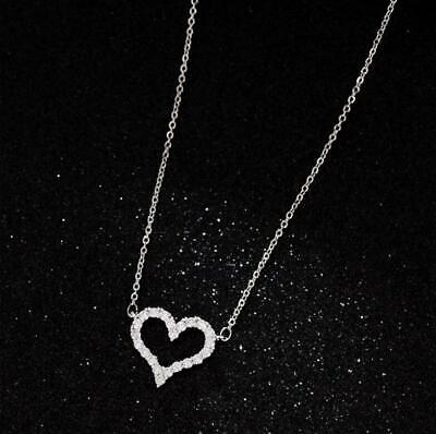 """Elegant /""""Heart Beat/"""" 925 Sterling Silver 1.0 Ct Micro-inlay CZ Pendant Necklace"""