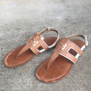 Tommy Hilfiger Thong T Strap Flat Sandals Tan White Trim