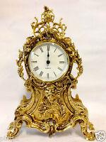 Mantel clock BRASS TABLE CLOCK pendule ANTIQUE BAROQUE GOLD French mantel clock