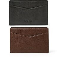 Fossil Omega Card Case, Ml3533p Leather Black Or Dark Brown